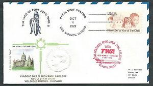 1979 Vaticano Viaggi Del Papa Dispaccio Aereo Des Moines Chicago - Rm1 La Qualité D'Abord