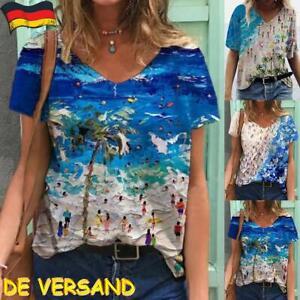 Hot Damen Sommer V-Ausschnitt Kurzarmshirt T Shirt Freizeit Lose Hemd Top Bluse