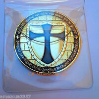 Knights Templar Commemorative Two Sided Thick Golden Coin 1.5 Black Enamel