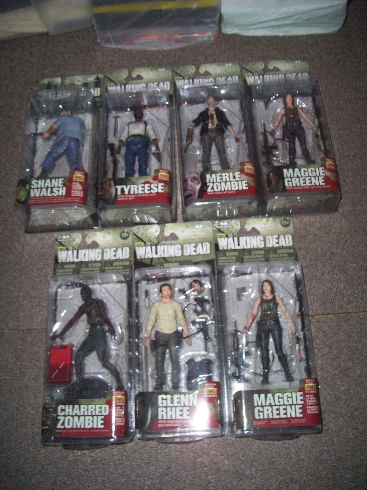 The walking dead series 5 figures. job lot 7 figures . still sealed