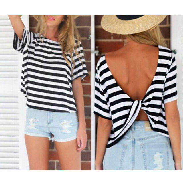 Fashion Sexy Women Short Sleeve Loose T Shirt Summer Casual Tops Blouse