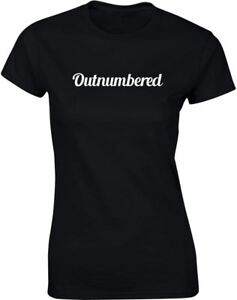 Outnumbered-Slogan-Printed-Ladies-T-Shirt-100-Cotton-Summer-Tee-Top-Women