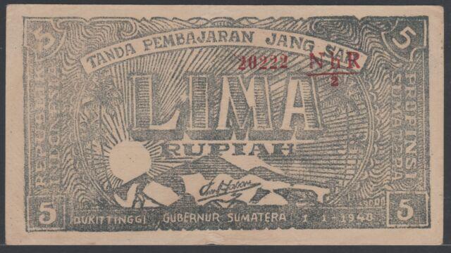 Indonesia 5 Rupiah 1948 Bukittinggi, VF+, Pick S189b / H-520b