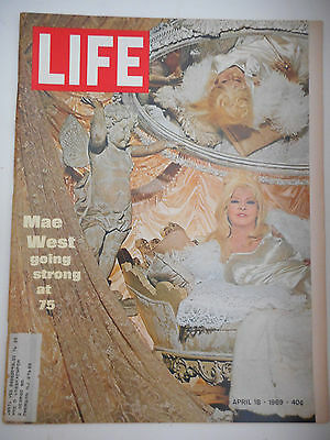 LIFE MAGAZINE APRIL 18, 1969 MAE WEST GOING STRONG AT 75