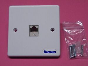 Inmac 8 pin RJ11 Single Gang Face Wall Plate Telephone Modem Router Outlet 764
