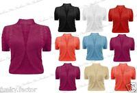 Womens Ladies Plus Size Shrug Bolero Cable Knit Crochet Cardigan Shrugs UK18-26