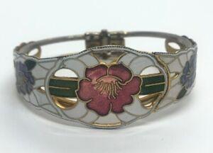 Vintage-Bracelet-6-5-Cloisonne-Hinged-Flower-Enamel-Bangle