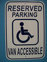 Handicap Parking Sign, Handicap Reserved Parking Van Accessible 12x18 Aluminum