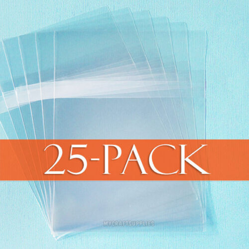 Resealable Pack of 25 Self Adhesive Cello Bags with Protective Adhesive Closure