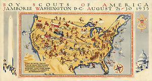 Early-Pictorial-Map-Boy-Scouts-America-jamboree-Washington-Wall-Art-Poster-Decor