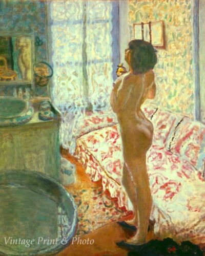Dressing Room Pink Sofa by Pierre Bonnard Art Girl Nude Wash 8x10 Print 0688