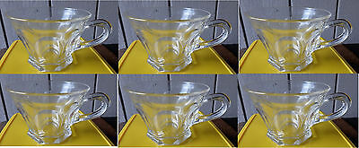 6 Vintage or Antique Pressed Glass Punch Cups Clear Panel Paneled