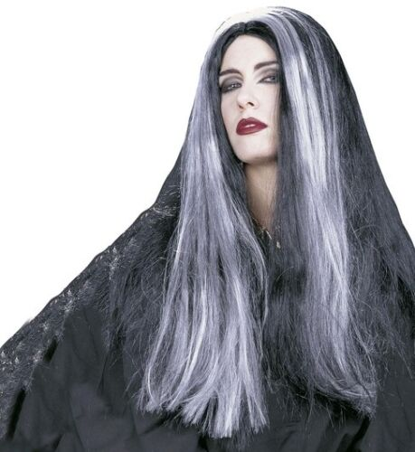 Ladies Long Grey Witch Wig Scary Halloween Morticia Corpse Bride Fancy Dress