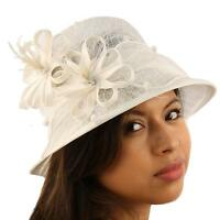 1920s Flapper Sinamay Flower Net Cloche Bell Back Flip Bucket Church Hat White