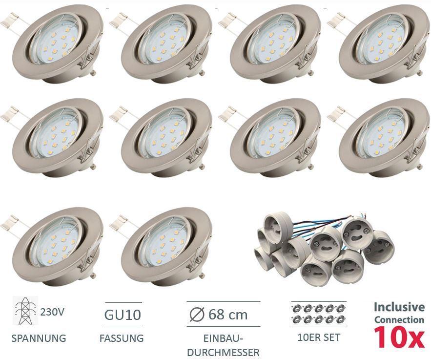 Faretto Led a Incasso da Soffitto GU10 GU10 GU10 230V Einbau-Spots Luci Lampada 10ER Set 80f060