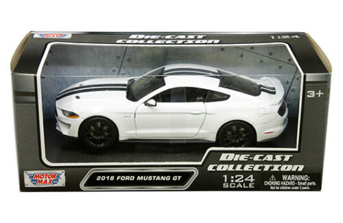 2018 FORD MUSTANG GT WHITE 1//24 SCALE DIECAST CAR MODEL BY MOTOR MAX 79352