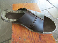 Cushe Argos Slide Sandals Mens 8 Brown Leather Free Ship
