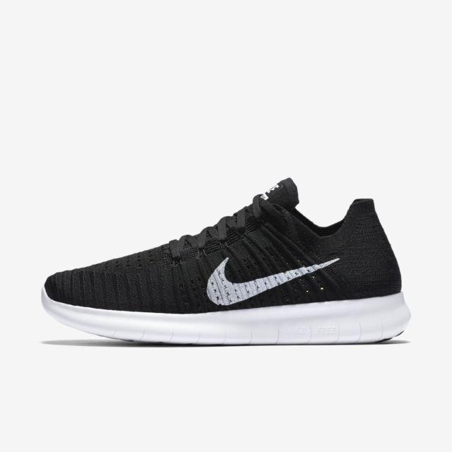 MEN'S Nike Free Run RN Flyknit shoes Sneakers Black White 831069-001 Sz 7-14 NIB