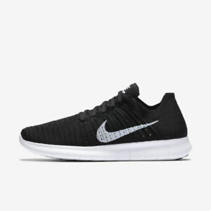 Details about NIKE FREE RUN FLYKNIT 2018 BlackWhite GymRunning Trainers UK 11 EU 46
