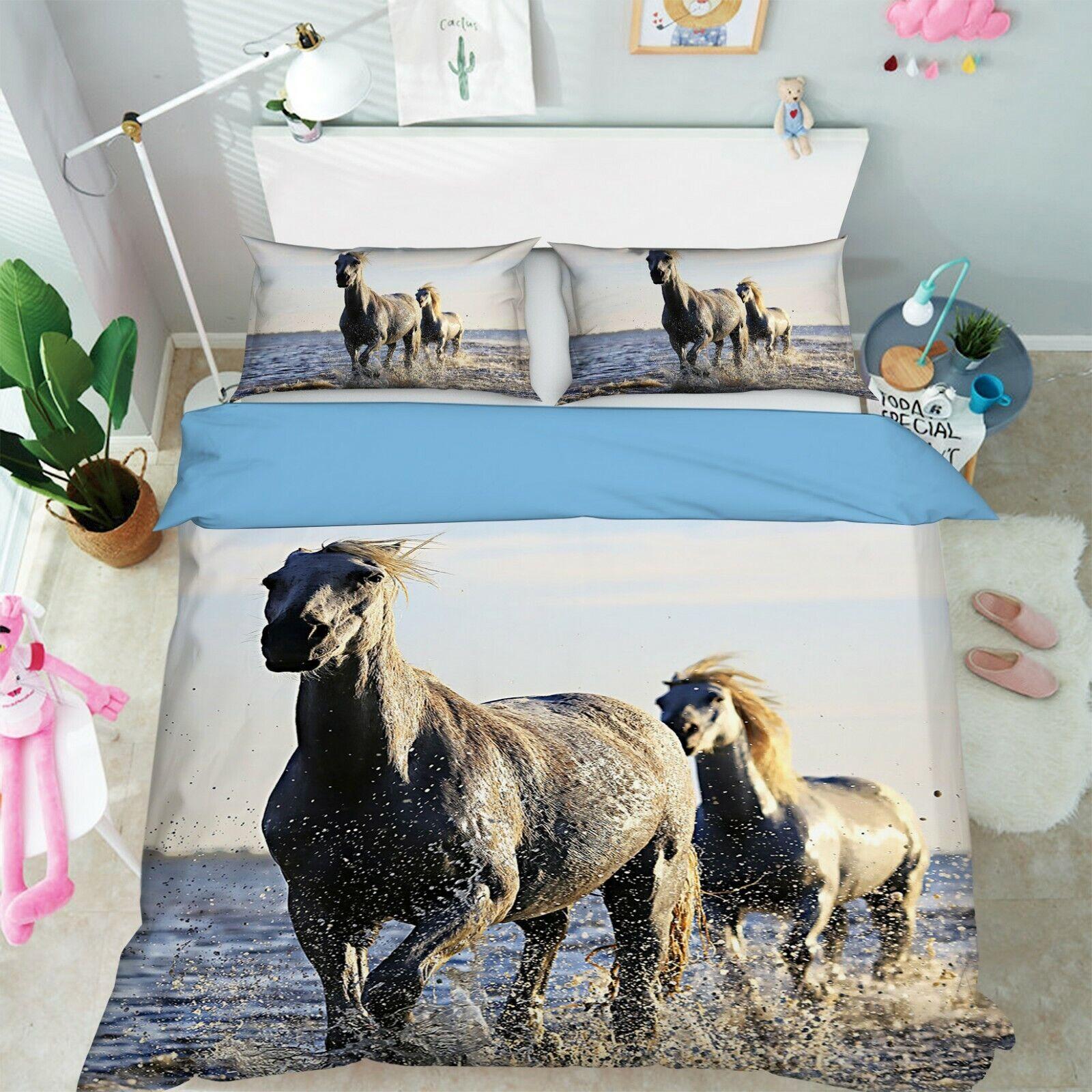 3D Horse River G57 Animal Bed Pillowcases Quilt Duvet Cover Set Queen King Wendy