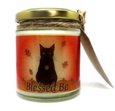 Samhain Black Cat Design, Pumpkin Scented Jar Candle, gift, Wiccan, Halloween