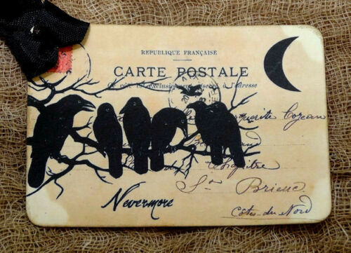 Hang Tags  SPOOKY CROW NEVERMORE POSTCARD TAGS or MAGNET #688  Gift Tags