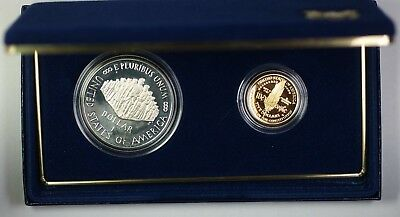 1987 U.S w//Box /& COA Mint Constitution $1 Silver $5 Gold Proof Coin Set