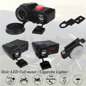 Waterproof Motorcycle Dual USB Charger Ports Volt Meter Mirror Mount Lighter