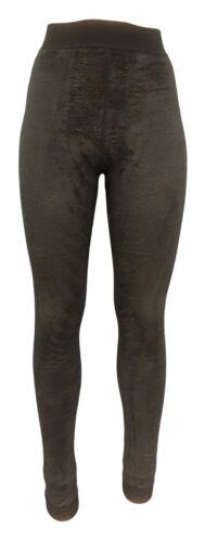 Polarfleece Leggings Damen 2x warme Winter-Leggings gefüttert Viskose Baumwolle