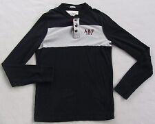 Abercrombie Men's 100% Cotton Muscle L/S Navy Blue & Gray Henley T Shirt - M