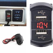 Waterproof 12-24V Push Switch Style Car Red LED Digital Voltmeter 2-USB Jack