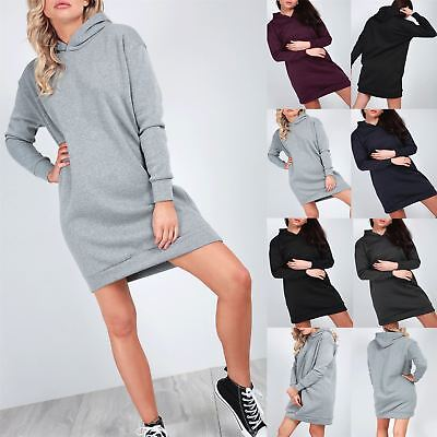 Ladies Womens Fleece Hooded Pullover Long Sleeves Sweatshirt Jumper Mini Dress