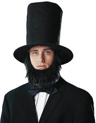 BLACK ABE ABRAHAM LINCOLN COSTUME TALL STOVE PIPE TOP HAT AND BEARD SET 28336