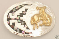 Bucking Bronco German Silver & Abalone - Belt Buckle - - 3 X 2 - Fr-803