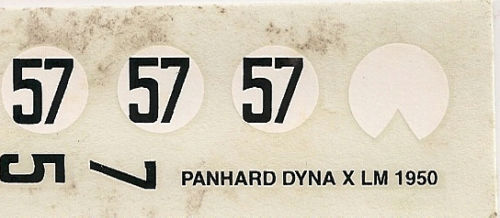 Panhard Dyna X Le Mans 1950 decals 1//43