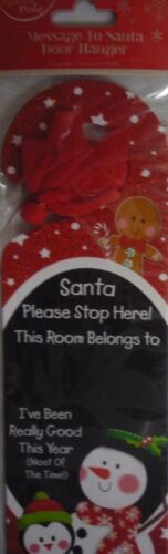 Christmas Message To Santa Stop Here Door Hanger Glitter Xmas Decor Sign /& Chalk