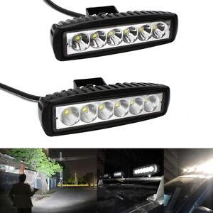 2-x-18W-LED-Faros-Luz-de-trabajo-Flood-Spot-Offroad-Camion-SUV-UTE-ATV-Lampara