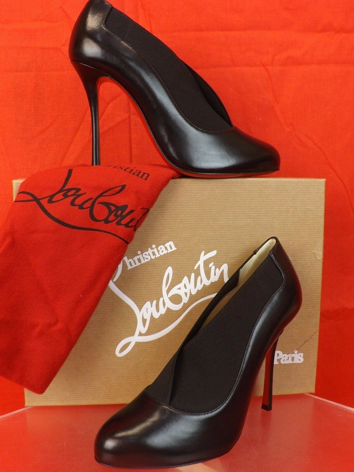 NIB LOUBOUTIN TOOT COUgreenE 100  BLACK ELASTICIZED LEATHER BOOTIES  PUMPS 38.5
