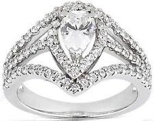 2.01 ct total 1.2 ct PEAR shape DIAMOND F SI2 Halo Engagement 14k WhiteGold Ring