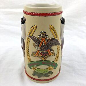 Anheuser-Busch-Beer-Stein-Mug-Bud-Light-Clydesdale-Horses-Ceramarte-Vintage-1980
