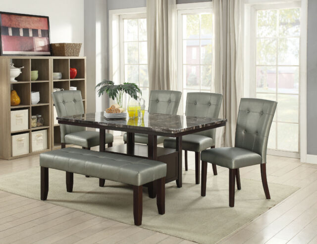 Merveilleux Dining Table Bench Tufted Chairs 6pc Set Breakfast Dining Room Furniture  Silver
