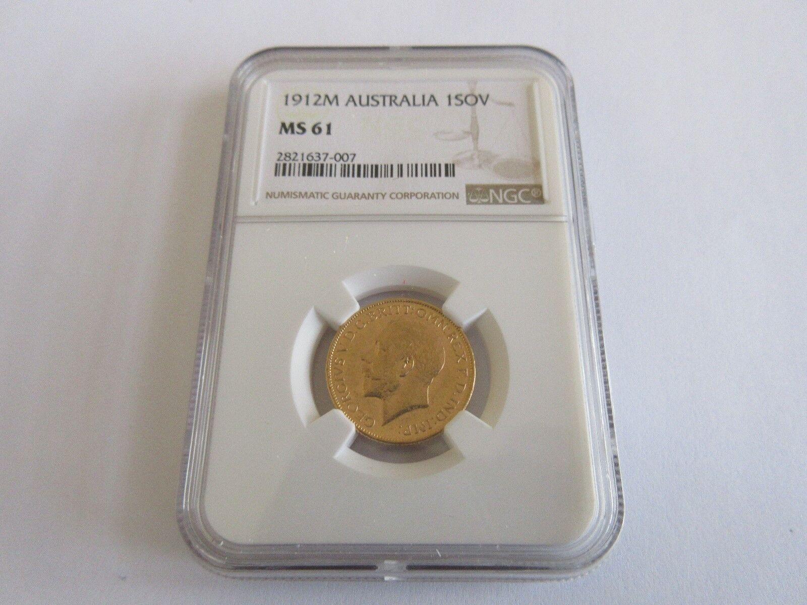1912M , Australia , 1Sov , NGC , MS 61