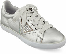 GUESS Marline Jeweled Lace-up Sneakers shoes Leather with rhinestone 9 M silver