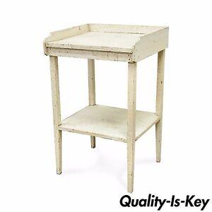 Antique-White-Distress-Painted-Pine-2-Tier-Accent-Side-Table-Rustic-Primitive