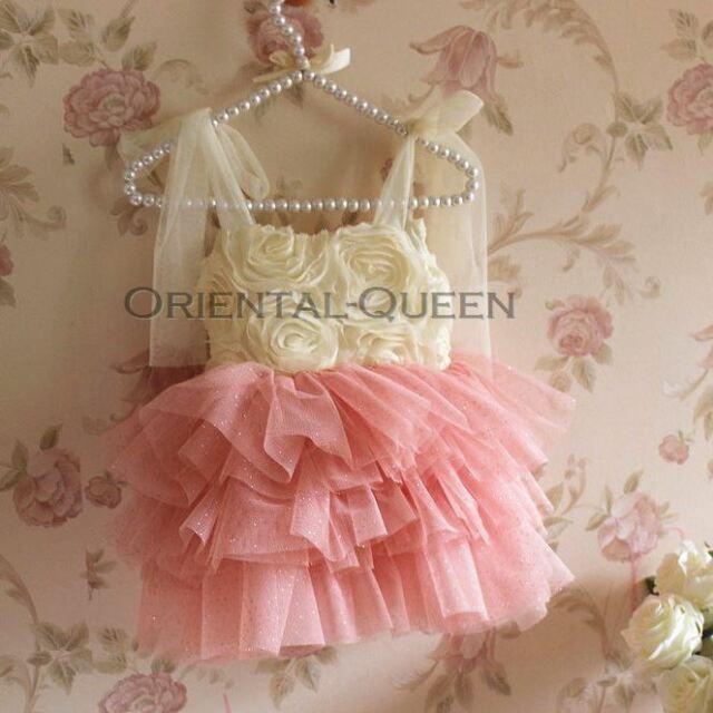 Baby Toddler Children Girls Clothes New Roses Flower TUTU Dress