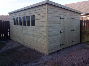 Garden Sheds 3x2 garden shed heavy duty tanalised 16x8 pent 13mm t&g. 3x2. | ebay