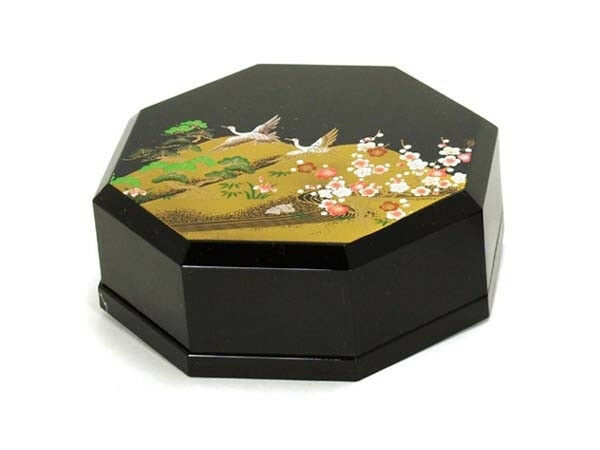 """Japanese 4.5"""" Traditional Octagonal Lacquer Box w/ Lid Lined Emaki Made in Japan"""
