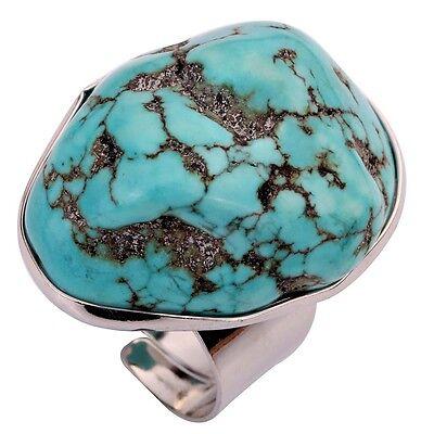 Vintage Design Turquoise Stone Inlay Tibetan Silver Adjustable Rings Women Jewel