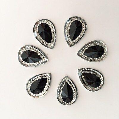 DIY 20pcs 13mm*18mm drop Resin Flat back Rhinestone Wedding decoration buttons