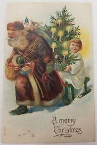 ANTIQUE-CHRISTMAS-POSTCARD-127-SANTA-BROWN-ROBE-ANGEL-SLED-TREE-NICE-SHAPE